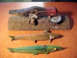 "<h5>Harvey Case (1901 - 1994)</h5><p>His Woodpecker Doorknocker is pretty crude...it is a 9"" Woodpecker on a 12"" board....the fish are rather ""typical"" of the two predominant colors that he made... both are 8 1/2"" in length with the ""Harvey Case paint-job"" that was made from wrapping an onion sack from the grocery store around the fish and ""spraying accordingly"".</p>"