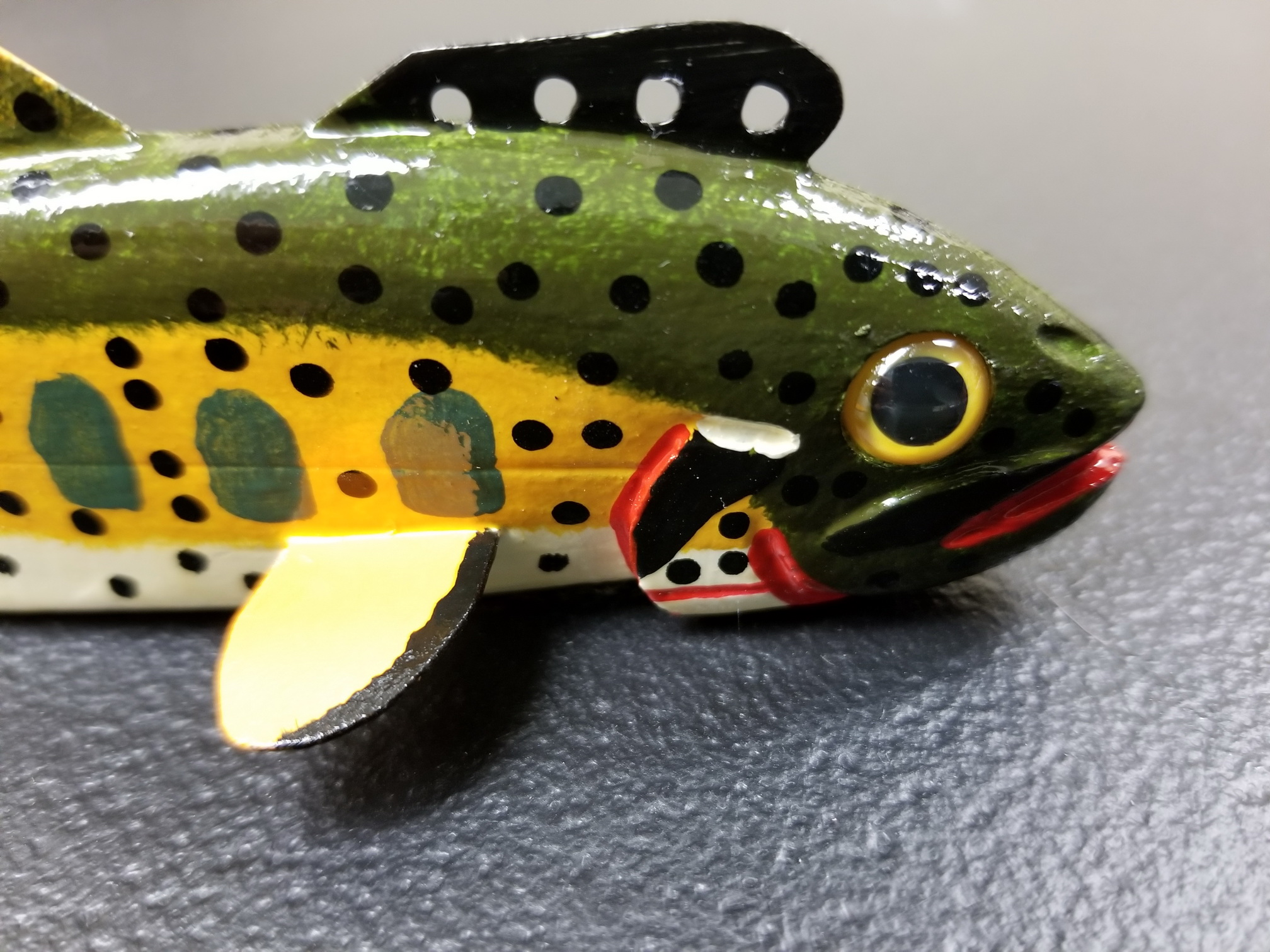 Jim Nelson Fish Decoy Trout 7 Inch Lightly Signed and Dated  #19-2